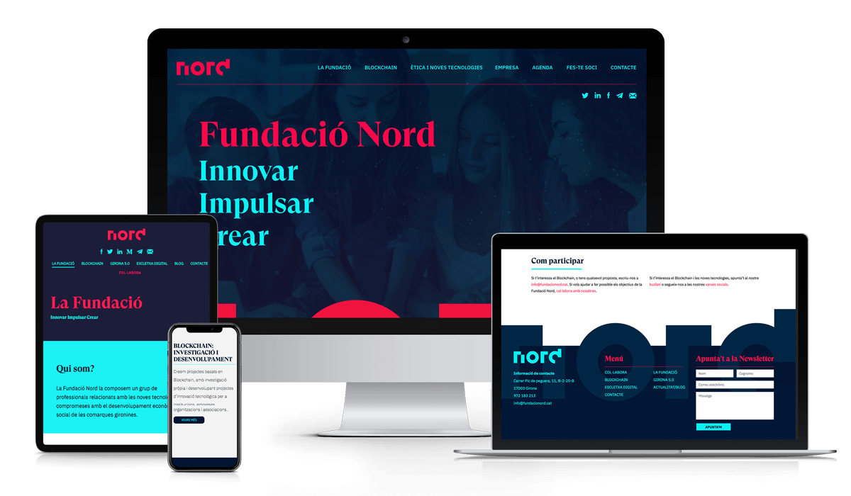 "View of ""Fundació Nord"" website in different devices"